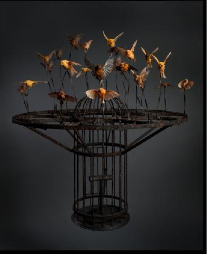 Polly Morgan, Systemic Inflammation , 2010; Taxidermy and steel, 51 1/8 x 44 1/2 x 44 1/2 in.; Photography by Tessa Angus